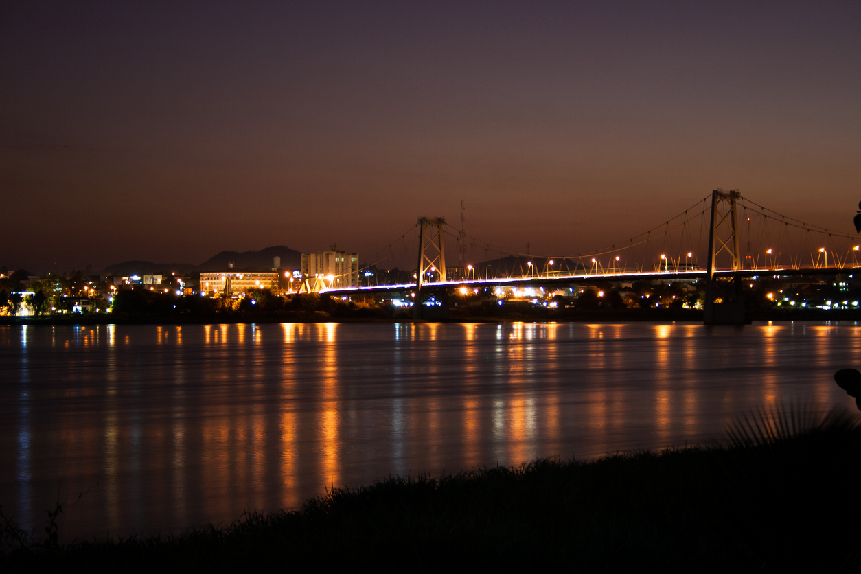 Bridge across Zambezi River in Tete during the night.